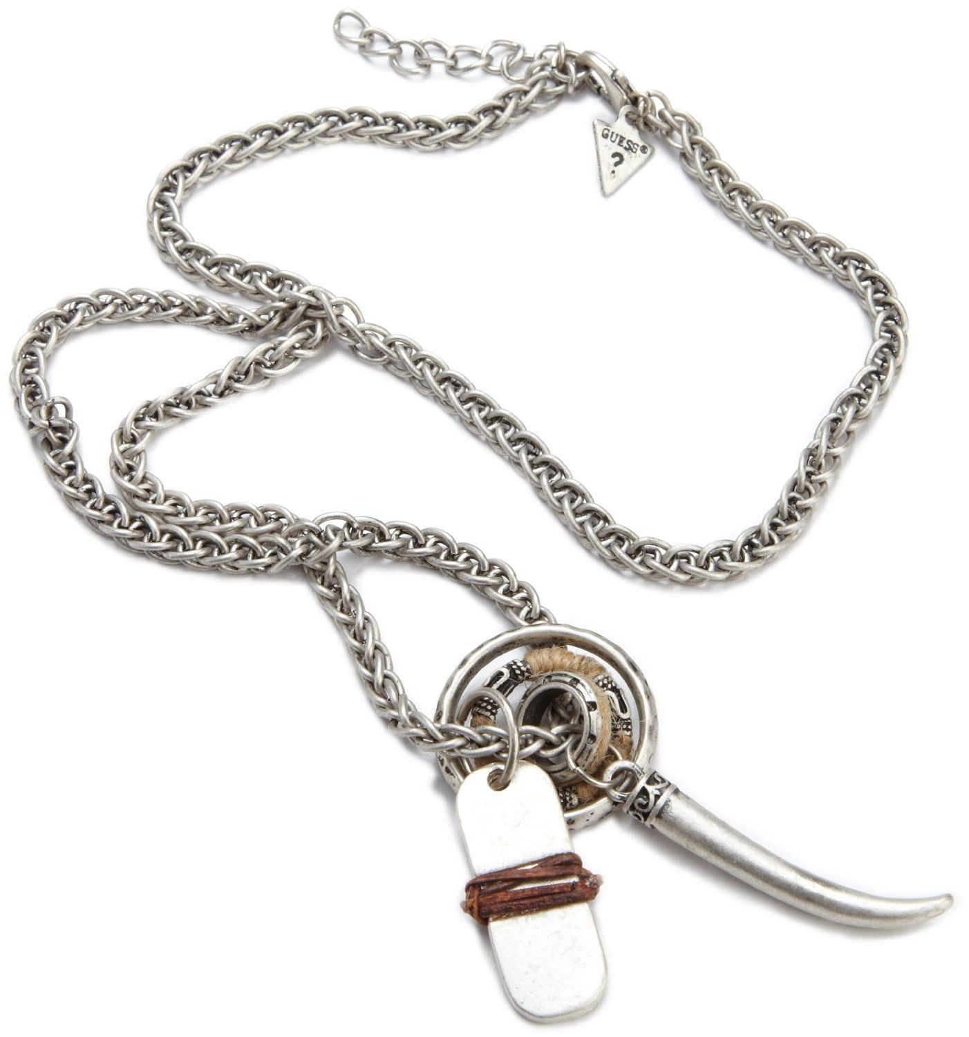 4afd67b53bd21 Guess Mens Leather Wrapped Tag And Rings Necklace, (mens jewelry ...