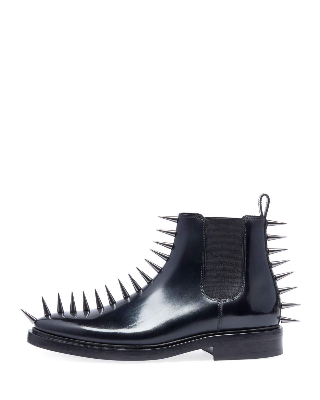 00d39c8c9d700 Balenciaga Men s Spikes Leather Combat Boots