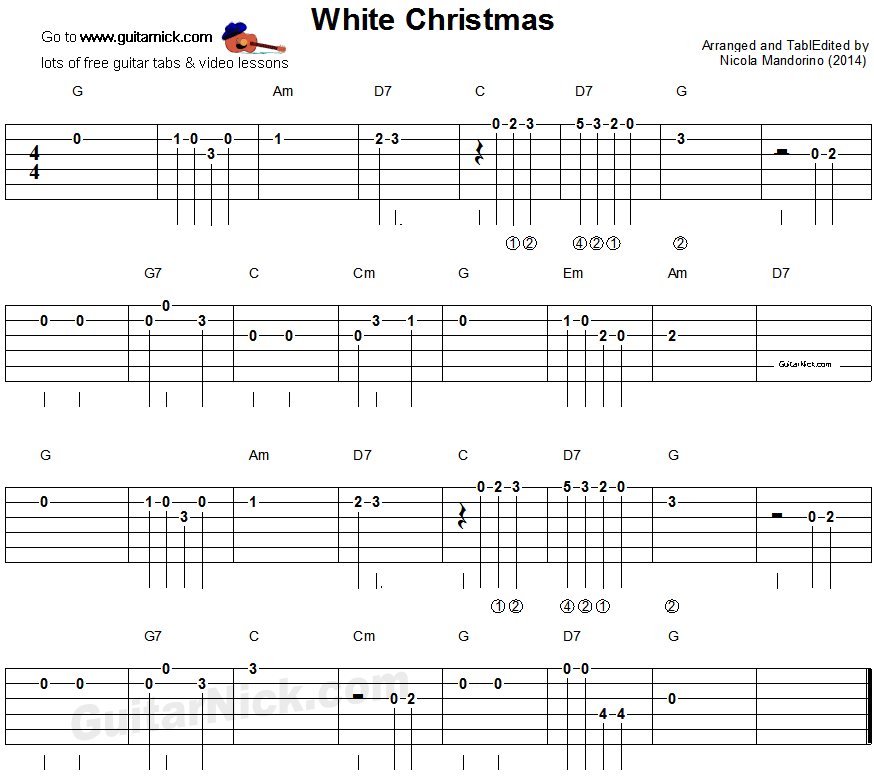 White Christmas Easy Guitar Tab Sheet Music Guitar Tabs Easy Guitar Songs Guitar Tabs Songs