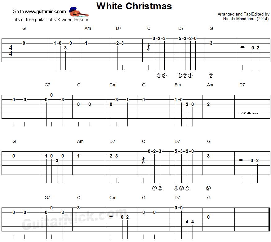 Free Christmas Guitar Sheet Music For Beginners: White Christmas - Easy Guitar Tablature