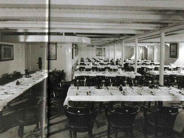 """3rd class dinning room, f deck   the titanic """"practically"""