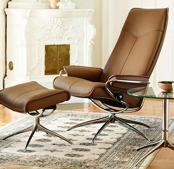 Ekornes Stressless City High Back Leather Recliner And Ottoman Metro Chair Lounger Ekornes Stressless Metro Recliners Stressless Chairs Stressless Sofas A Stressless Chair Brown Leather Recliner Chair Stressless Furniture