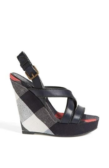 c60d3a0927 Pairing these Burberry wedge sandals with some skinny jeans ...