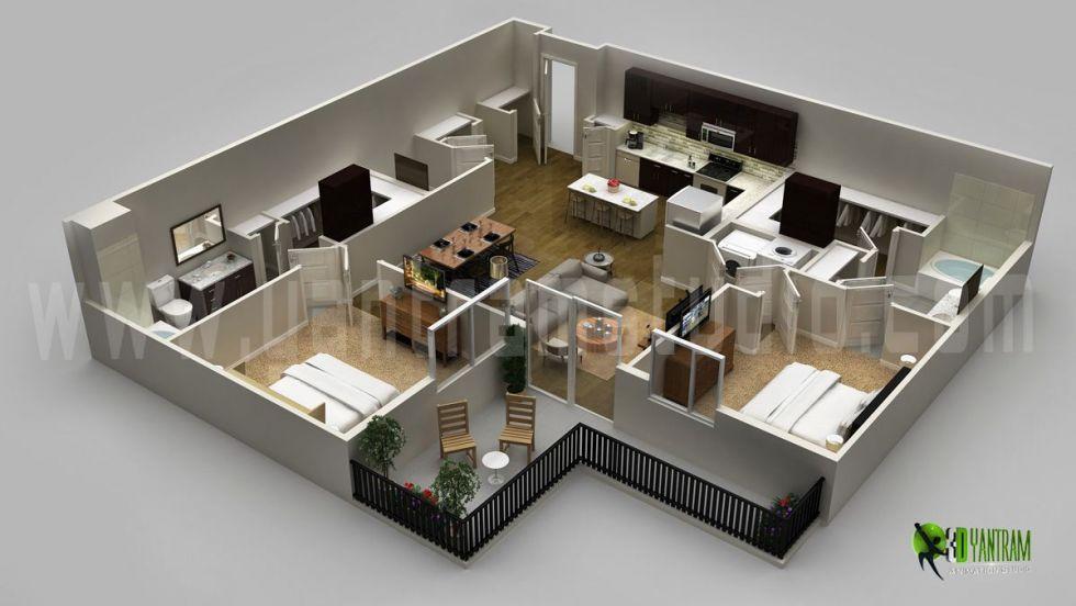 Modern Residential 3d Floor Plan 3d Floor Plan Design Cg Gallery Computer Graphics Forum Floor Plan Design Flat Roof House Designs Simple House Design