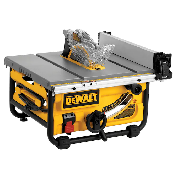 Dewalt 10 In Carbide Tipped Blade 15 Amp Portable Table Saw Lowes Com In 2020 Table Saw Portable Table Saw Easy Woodworking Diy