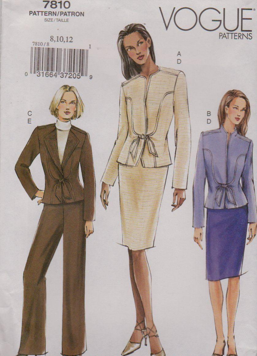 Vogue Sewing Pattern 7810 V7810 Misses Size 8-12 Fitted Jacket Skirt ...
