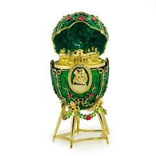 Alexander Palace Royal Russian Egg- Enameled Jewelry Trinket Box Figurine