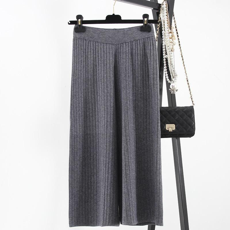 Women wide leg legging calf length pant black gray fashion pleated pant lady loose knit pants