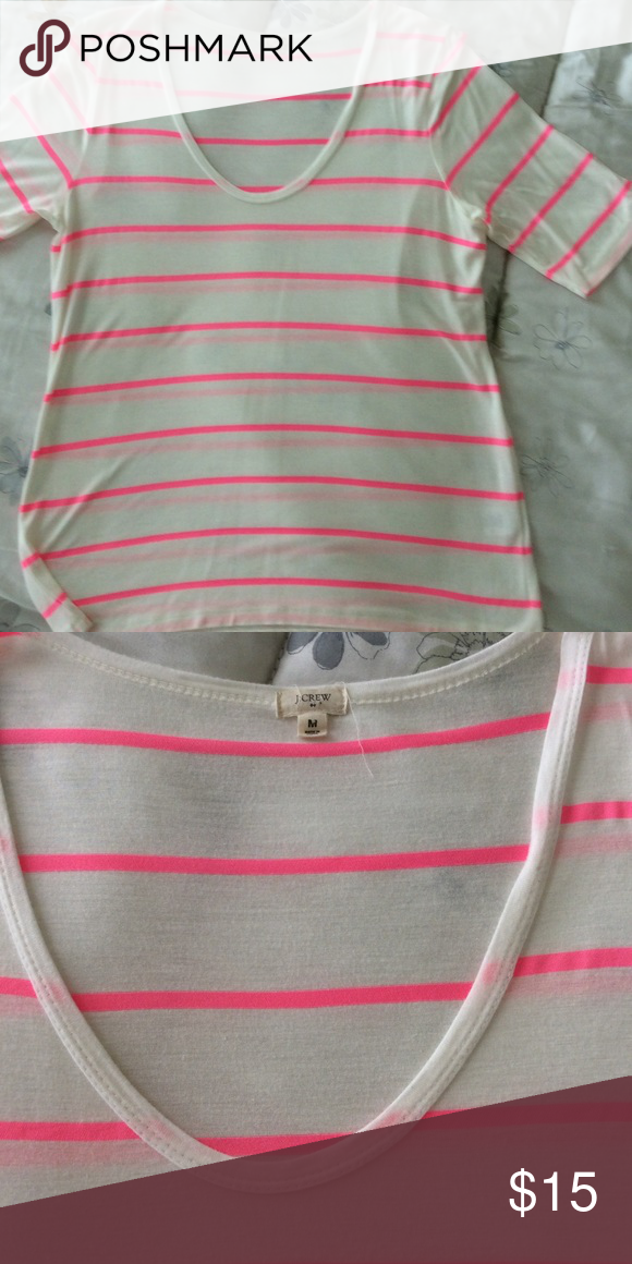 """J Crew Factory T shirt Fun pink and white stripes -- wear with shorts or jeans. I am 5.9 1/2"""" and it comes to top of thigh area J. Crew Factory Tops Tees - Short Sleeve"""