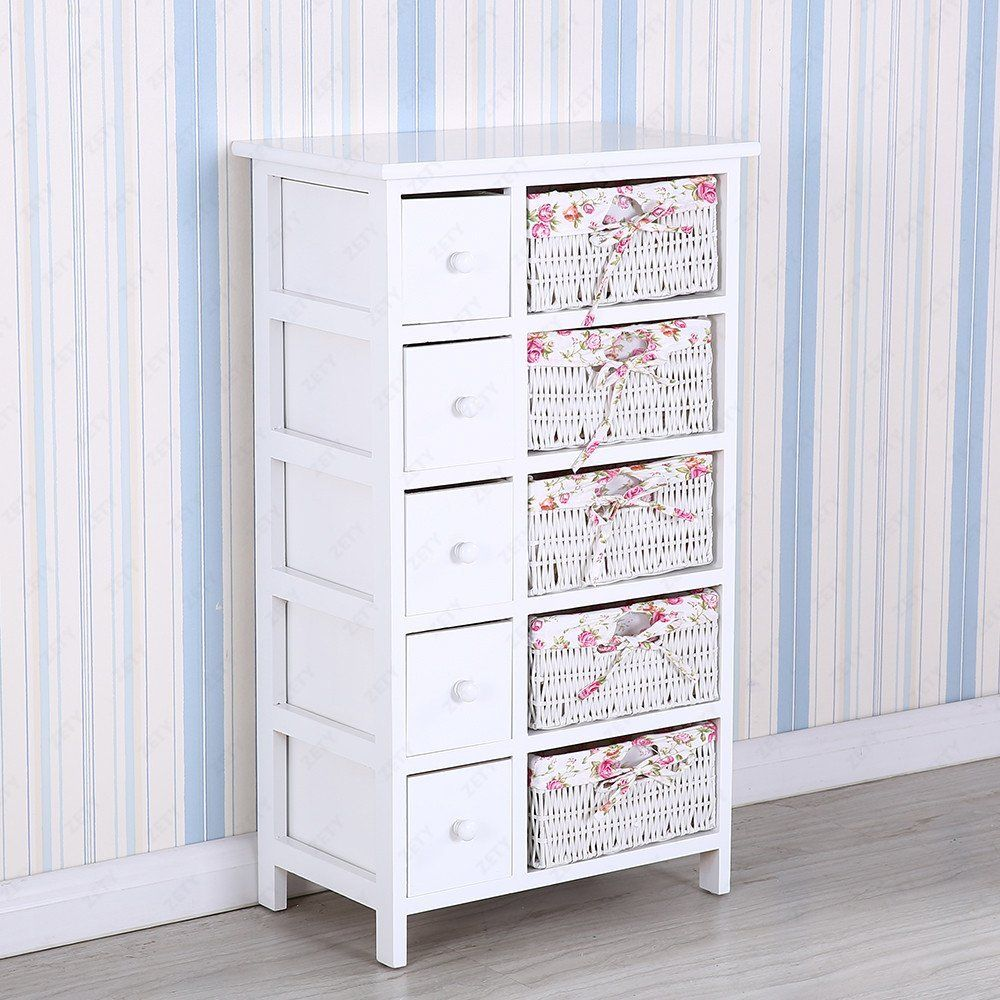 UEnjoy White Chest Of Drawers Wicker Storage Drawer With 5 Woven Baskets