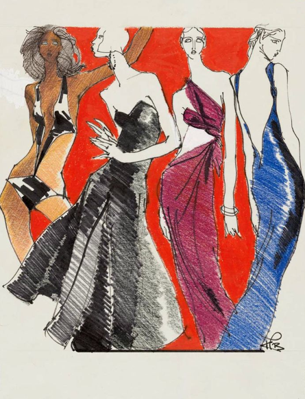 By Kenneth Paul Block, 1 9 7 6, Four models wearing design by Halston (1932–1990), W Magazine.