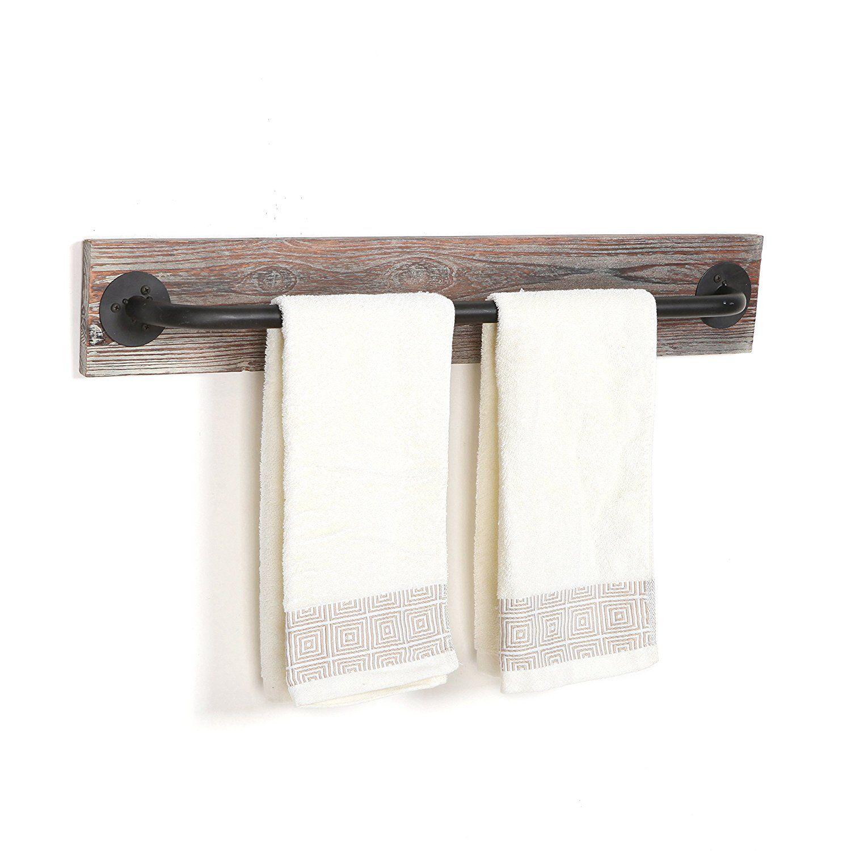wood towel bar. Love This Rustic Bathroom Torched Wood \u0026 Black Metal Hanging Towel Bar / Wall Mounted