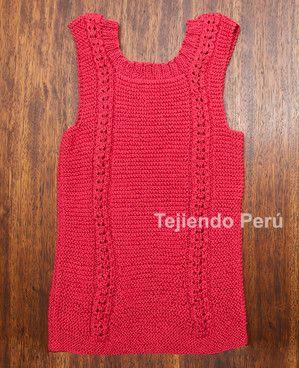 b18f266ee Cómo tejer una camiseta sin mangas en dos agujas o palitos para ...