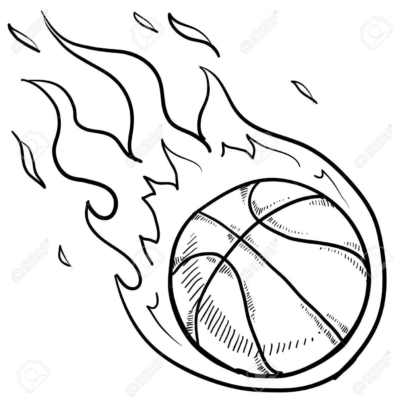 Doodle Style Flaming Basketball Illustration In Vector Format Sports Coloring Pages Coloring Pages For Boys Coloring Pages