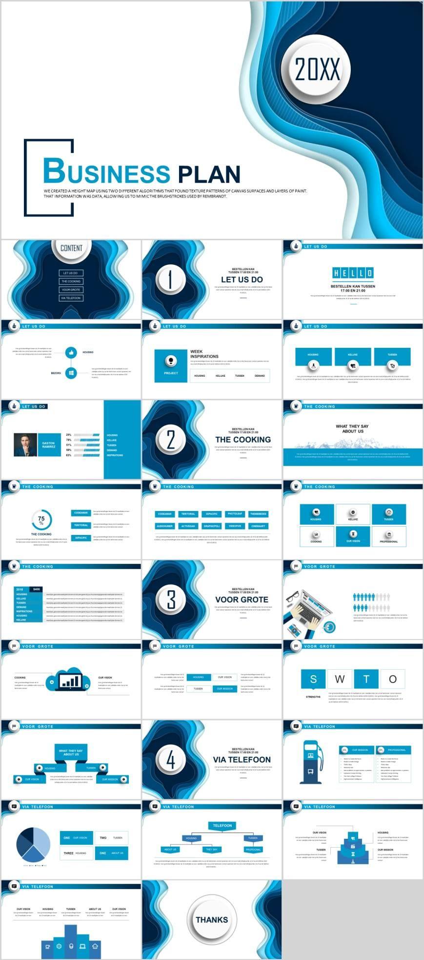 Blue business plan analysis PowerPoint template