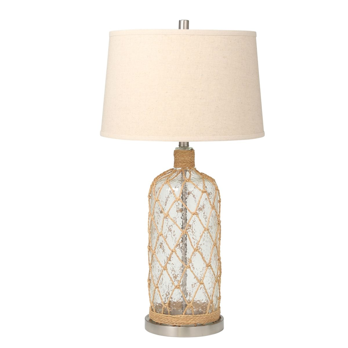 Glass And Metal Bottle Lamp That Has A Coastal Theme With A Rope Netting Design On The Lamp Body The Lamp Has A Silver Neck Socket Table Lamp Lamp Bottle Lamp