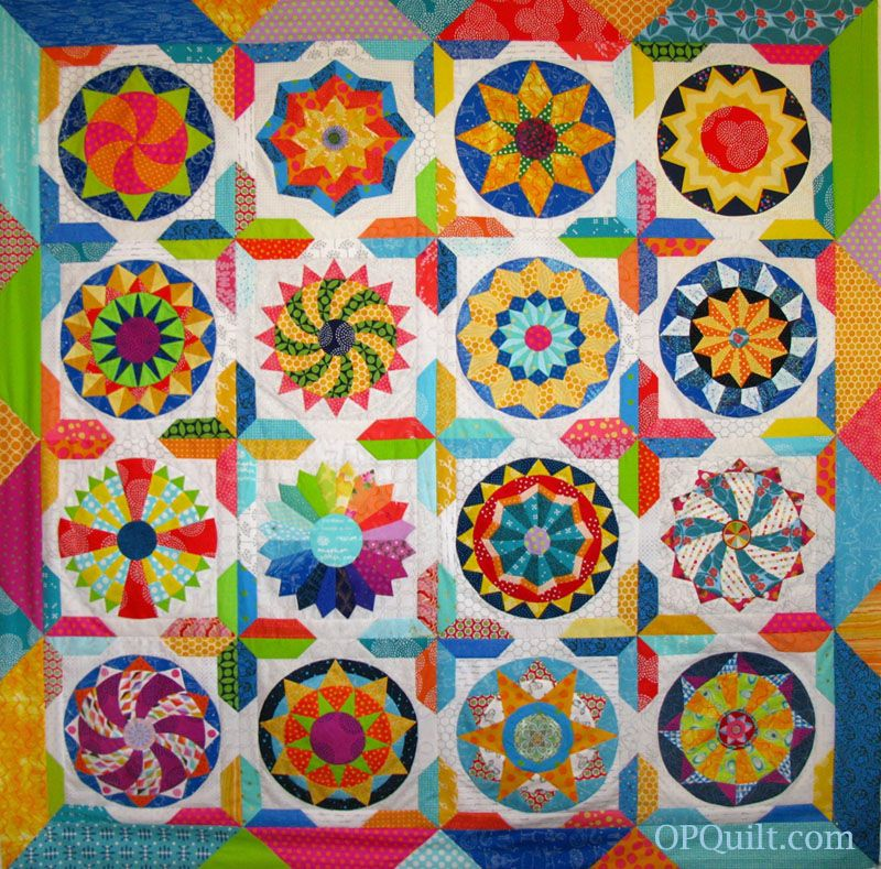 The Circles Quilt: Shine. A quilt made of English Paper Pieced Circles.