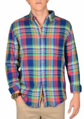 dd3ad91b23fbf2 Vintage 1946 Men's Yarn Dyed Southern Plaid Woven Shirt - Medium Blue - M