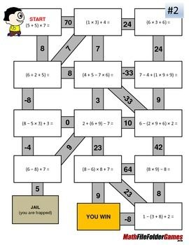 Order of Operations Maze/Worksheets - WITH Parentheses/Brackets in ...