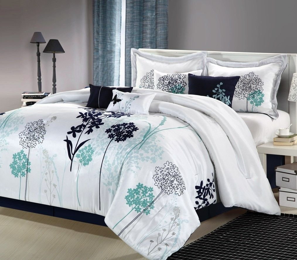 8pc Luxury Bedding Set White Navy Teal New Free Shipping