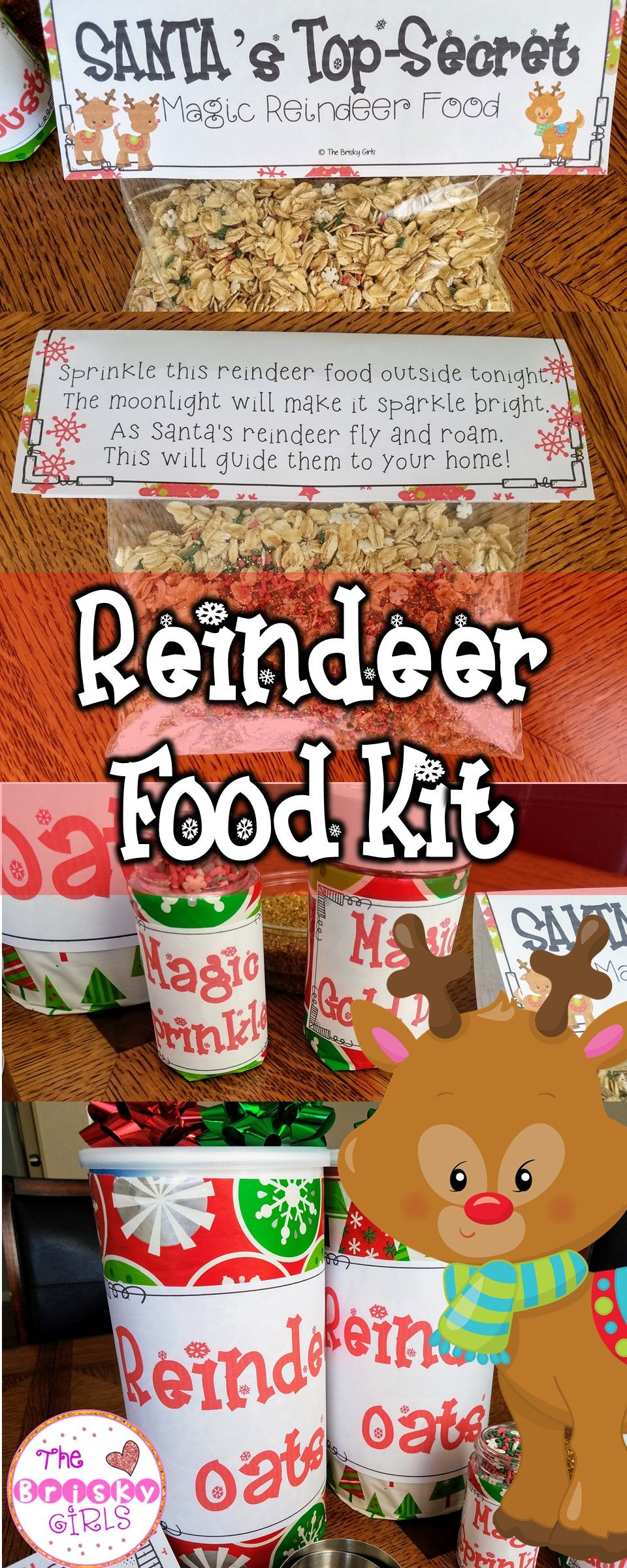 Reindeer food letter from santa bag toppers and how to writing reindeer food kit includes letter from santa how to writing activity recipe spiritdancerdesigns Image collections