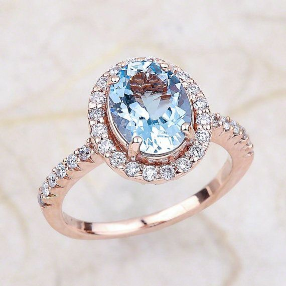 Aquamarine Engagement Ring Rose Gold / March Birthstone Halo Engagement Ring / Oval Cut Faceted Aquamarine Birthday Gift #aquamarineengagementring