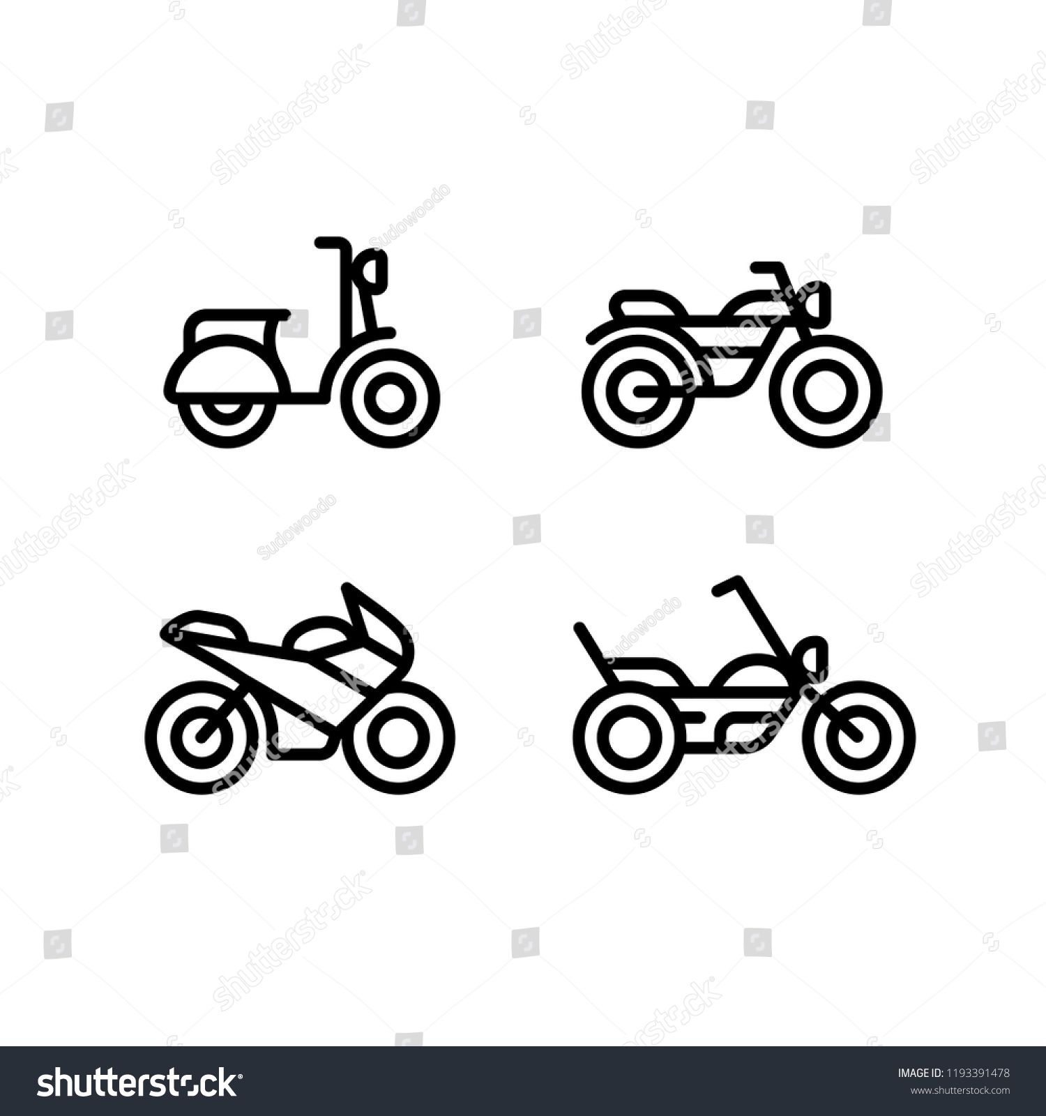 Motorcycle Types Line Icon Set Classic Motorbike Sports Bike
