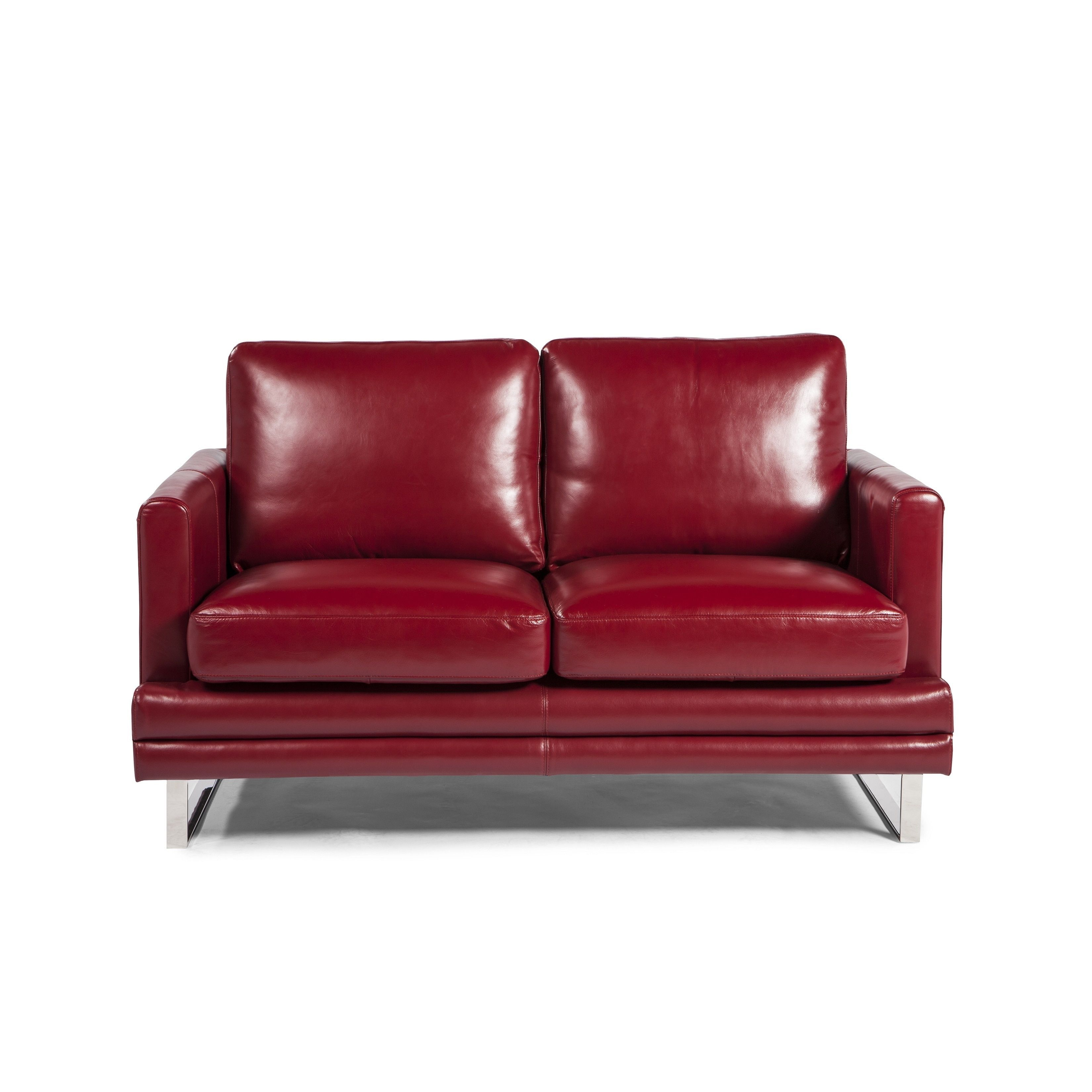 Awesome Red Bonded Leather Loveseat