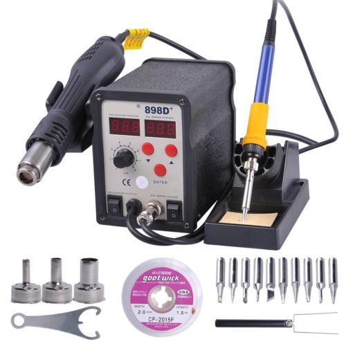 SMD Rework Soldering LCD Digital Station Hot Air Gun Solder Iron Welder 11 Tips