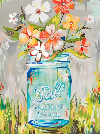 Wheatpaste Art Collective Ball Perfect Mason Jar By Katie Daisy Painting Print On Wrapped Canvas Daisy Painting Daisy Art Painting
