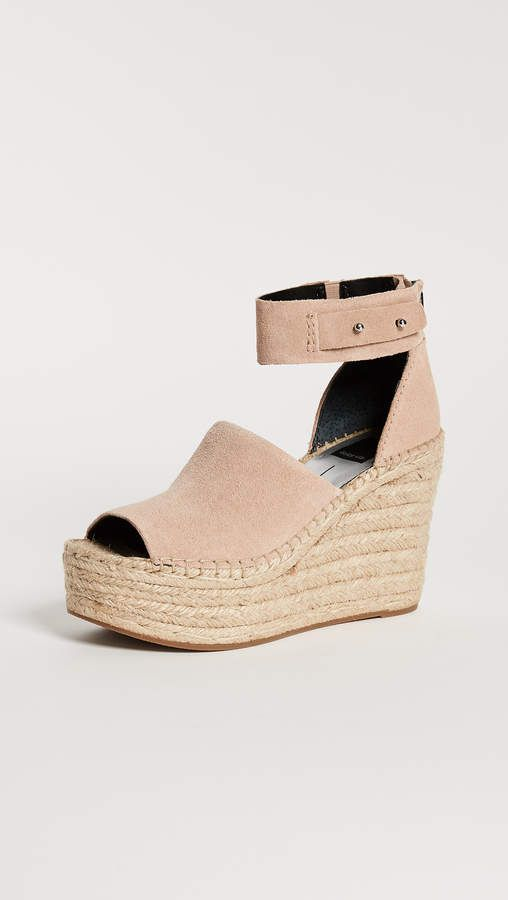 Dolce Vita Straw Suede Ankle Strap Peep-Toe Espadrille Wedge Sandals kXuEVo8