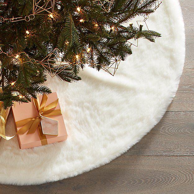 Large White Faux Fur Tree Skirt Faux fur tree skirt