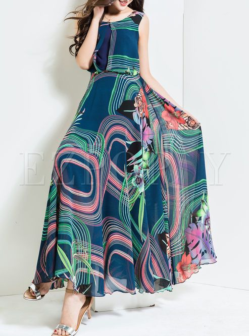 c92278134ea Shop for high quality Stylish Oversize High Waist Print Maxi Dress online at  cheap prices and discover fashion at Ezpopsy.com