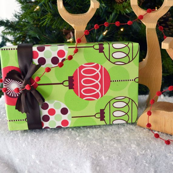 10 Feet Christmas Wrapping Paper  Whimsical by WrapAndRevel