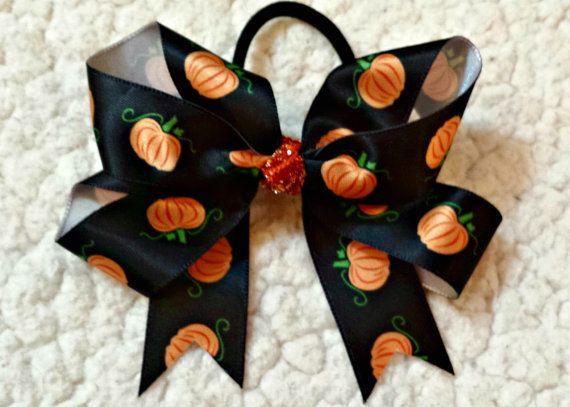 LovelyLake Halloween Black Satin Pumpkin Print Bow by LovelyLake, $8.00