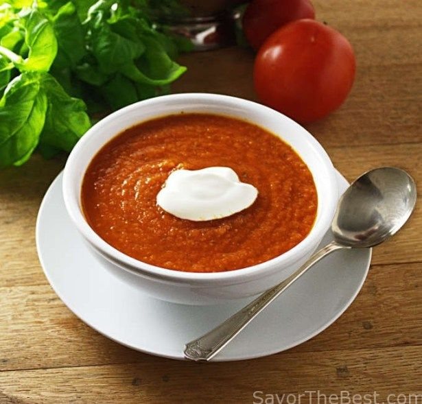 A soul-satisfying comfort food of tomato-basil soup that is easy to prepare and full of flavor. It is thick with crushed tomatoes and lots of basil.