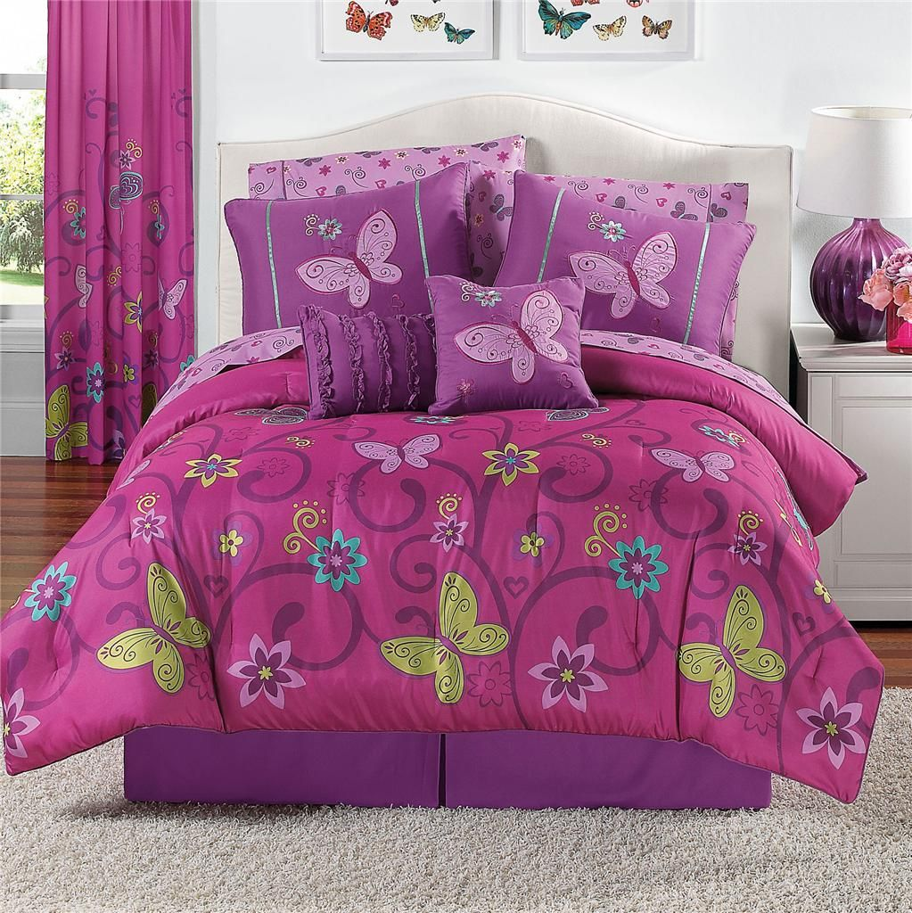 10 PIECE Girls Comforter Bedding Set PINK PURPLE BUTTERFLIES Twin Full Queen