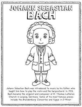 Johann Sebastian Bach Famous Composer Informational Text Coloring
