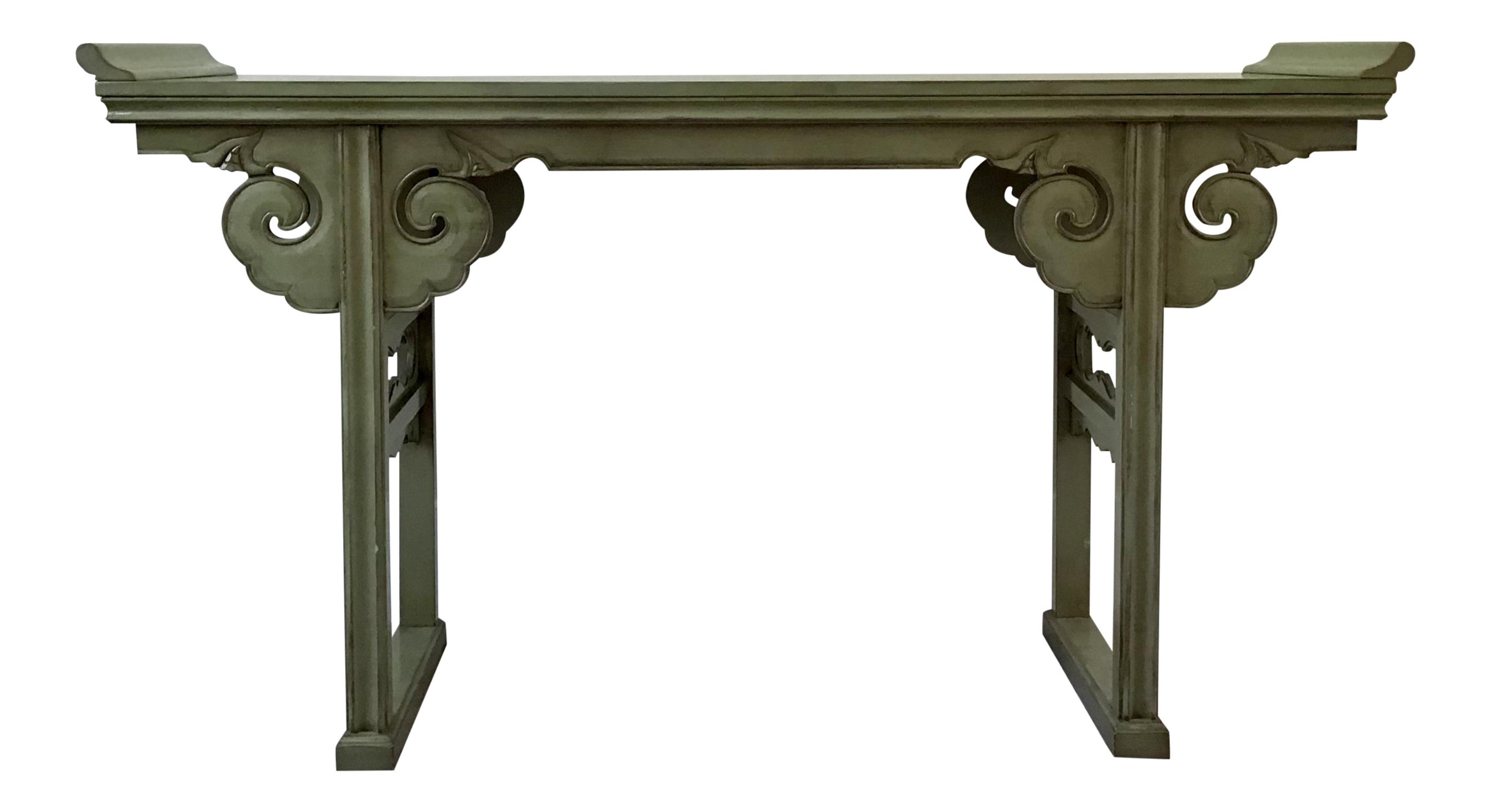 20th Century Asian Style Jade Wood Altar Console Table Console