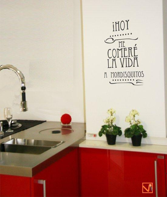 Vinilos decorativos cocina frases y mensajes mensajes - Pegatinas para cocinas ...