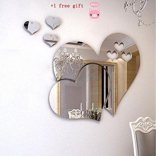 Kangrunmy 3D Sticker Muraux Amour Miroir Sticker Mural Autocollant