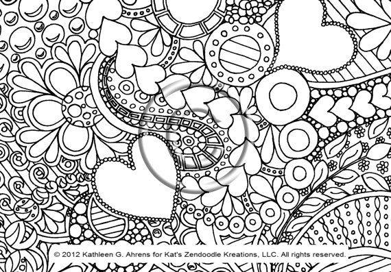 Bubbly Hearts ... a perfect title for this adorable zendoodle! Youre never too young or too old to have fun coloring!!!    Just print this onto