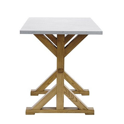 Tatum Trestle Counter Table With Zinc Top Table Dining