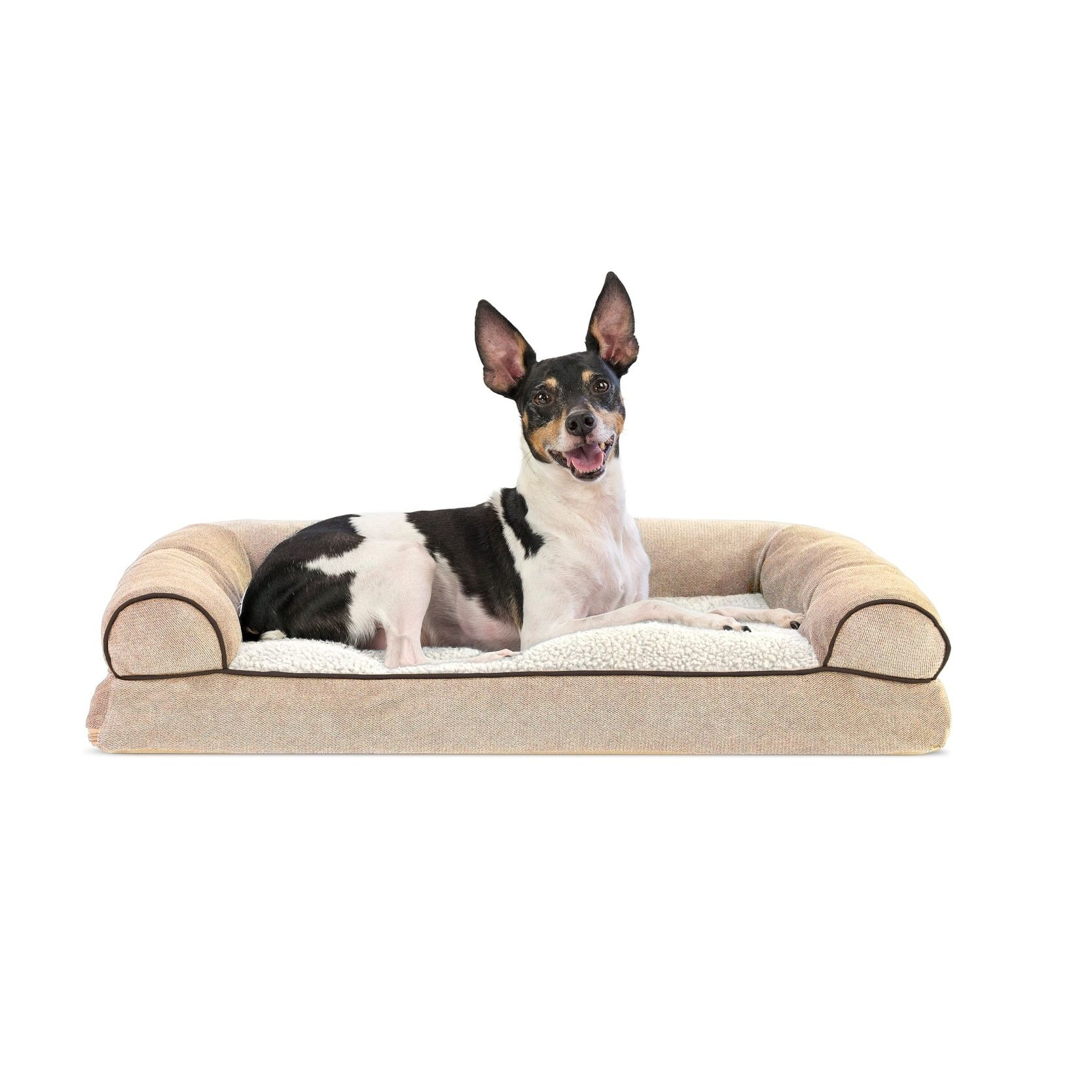 Soft Sofa Dog Bed Channing Power Reclining Set Furhaven Faux Fleece Chenille Woven Pillow Pet Beige