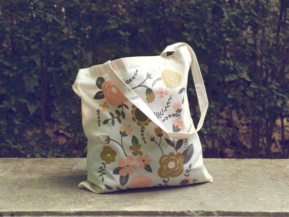 Flowers Tote bag, screen printed canvas Tote bag, organic canvas ...