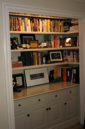 Closet Converted Into Built In Bookcase This Is Great When You Turn A Bedroom To Office