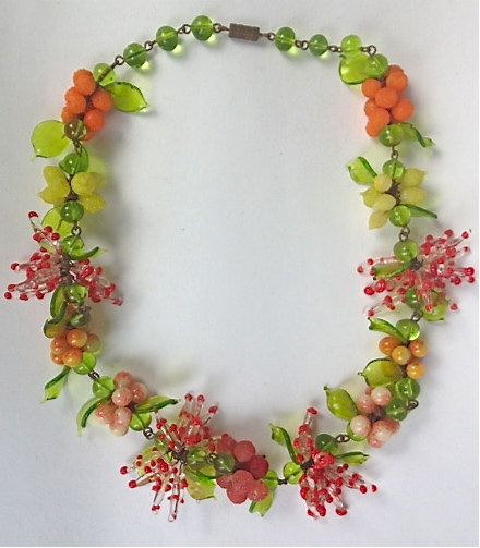 Vintage Venetian Fabulous Glass Fruit Necklace By Whirleyshirley Art Glass Jewelry Fruit Necklace Antique Costume Jewelry