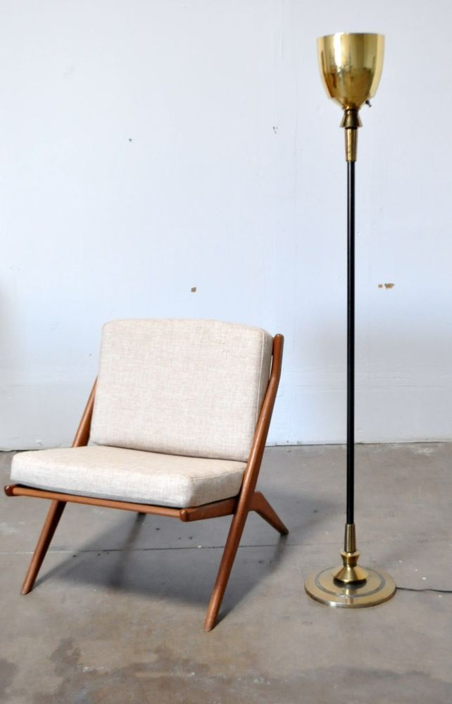 stiffel vtg mid century modern hollywood regency brass floor lamp
