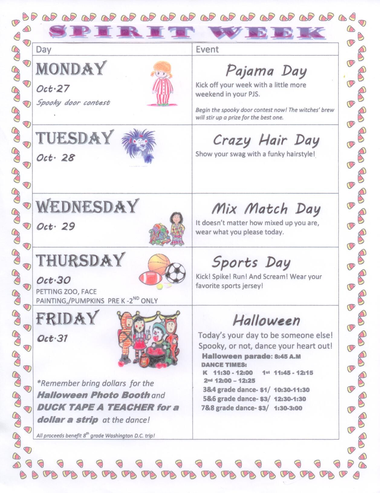 Spirit Week For Preschool