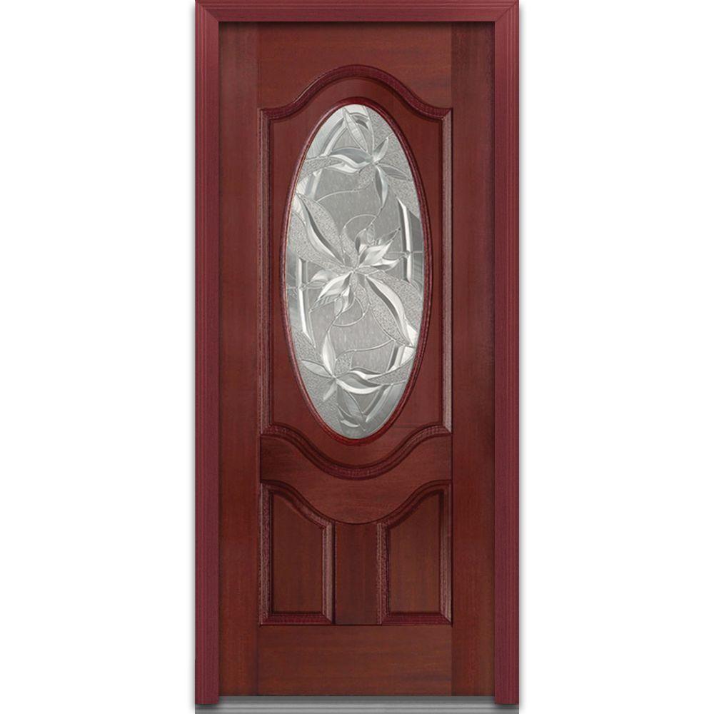 MMI Door 36 in. x 80 in. Lasting Impressions Left-Hand Oval Lite 2-Panel Classic Stained Fiberglass Mahogany Prehung Front Door  sc 1 st  Pinterest & MMI Door 36 in. x 80 in. Lasting Impressions Left-Hand Oval Lite 2 ...